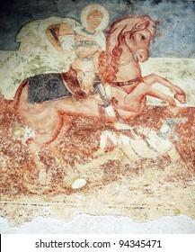 Antique wall byzantine fresco- St. George icon in orthodox monastery (Montenegro)