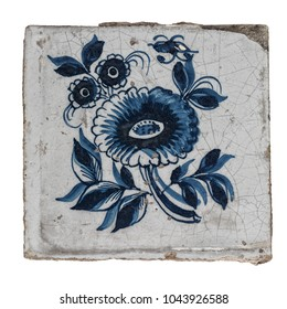 Antique wand tiles from the Dutch city of Makkum, with floral decoration. Isolated on white background.