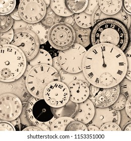 Antique watch faces steam punk repeating tileable wallpaper background. Image repeats up, down, left and right