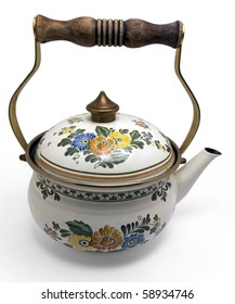 Antique water kettle with flower decorations on white