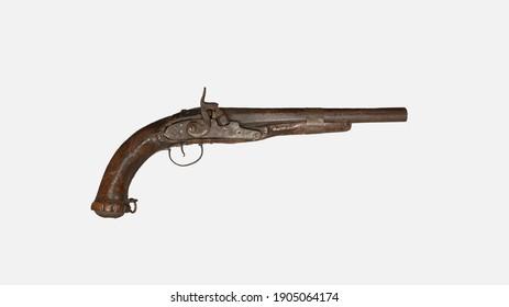 Antique weapon from 18th century, flintlock