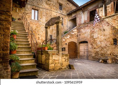 Antique well in beautiful small San Quirico Dorcia town, Tuscany