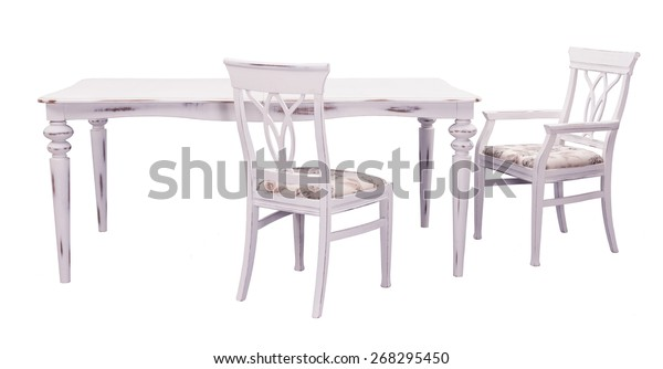 Brilliant Antique White Dining Table Chairs Isolated Stock Photo Edit Beatyapartments Chair Design Images Beatyapartmentscom