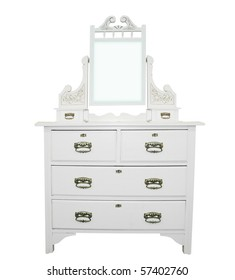 Antique White Dressing Table isolated with clipping path