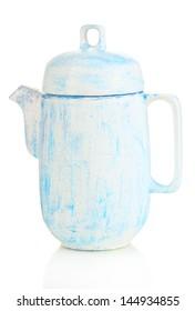 Antique white teapot isolated on white