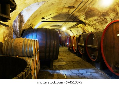 Antique Wine Cellar with Large Barrels