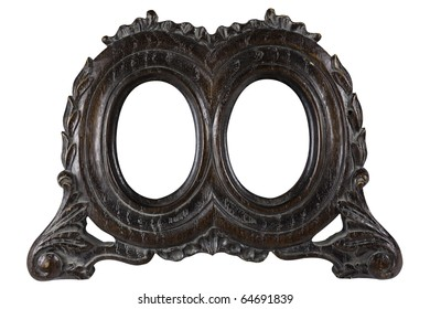 Antique wood double oval picture frame with all grunge intact. Early 1900 style. With work path.