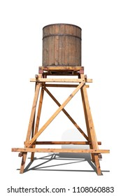 Antique wood water tower tank are made of wood.isolated on white background with clipping path