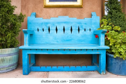 Antique Wooden Bench Outside of a Gallery in Santa Fe, NM