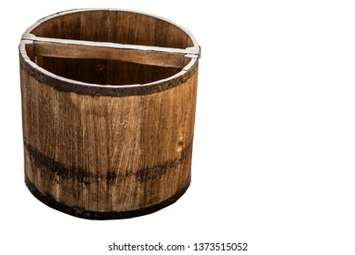 Antique wooden bucket for measure out paddy with clipping path.