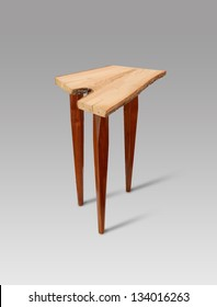 Antique Wooden Chair With 3 Legs Isolated