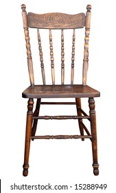 Antique Wooden Chair Isolated With Clipping Path