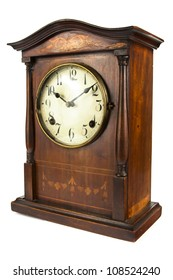 Antique wooden clock on a white background