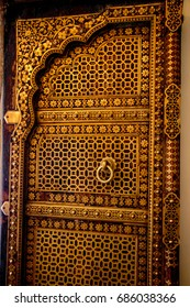 Antique wooden door frame from City Palace, Jaipur, India