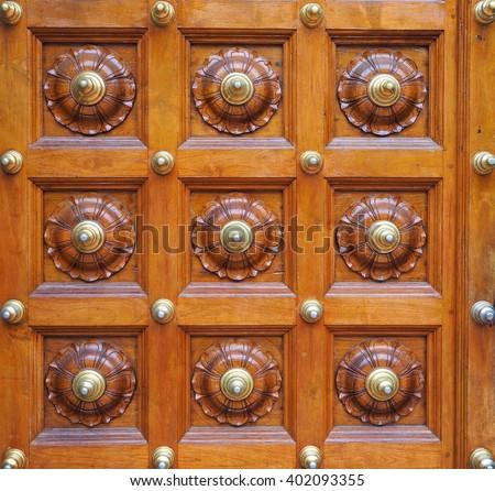 Antique Wooden Door At Hindu Temple