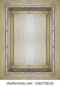 antique wooden door panel, antique gold finish with silver striped frame