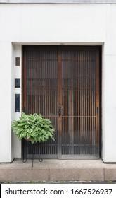 Antique wooden door of residential house in Japan