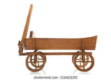 Antique wooden farmers cart for agriculture purpose isolated over white background