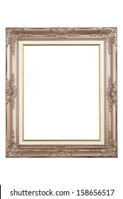 Antique wooden frame isolated on white background