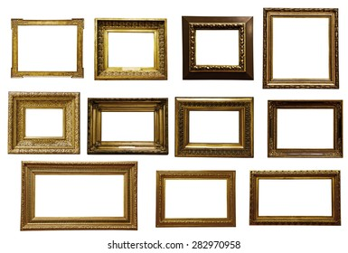 antique wooden frame On white background