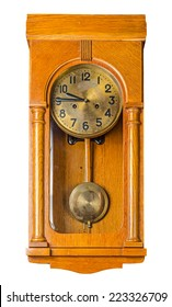 Antique wooden horizontal wall pendulum clock isolated on white background. File contains a clipping path.