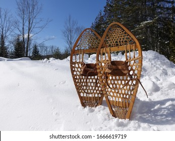 Antique wooden snowshoes with leather bindings tuck in a pile of snow