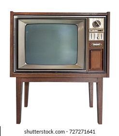 Antique wooden television in Isolated white background with clipping path