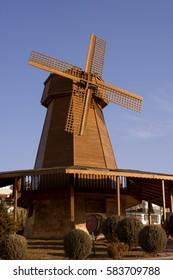 An antique wooden windmill