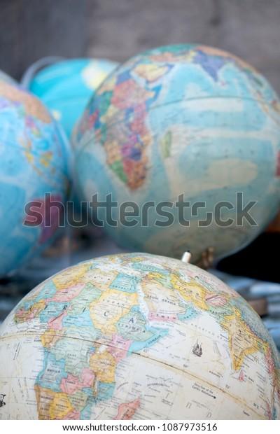 Globes For Sale >> Antique World Globes Outdoor Flea Market Stock Photo Edit