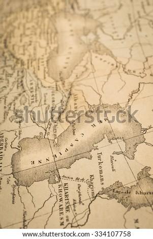 World Map Caspian Sea.Antique World Map Caspian Sea Stock Photo Edit Now 334107758
