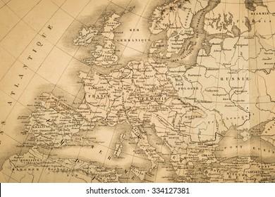Antique world map, Europe
