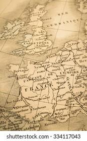 Antique world map, France