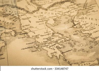 Antique world map, Greece