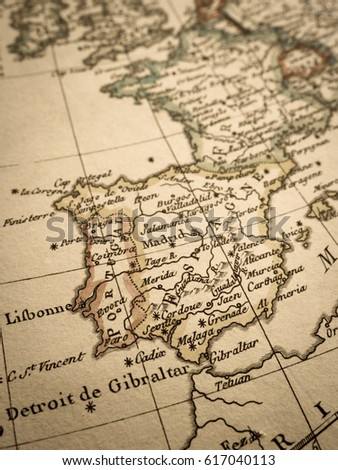 World Map Iberian Peninsula.Antique World Map Iberia Peninsula Stock Photo Edit Now 617040113
