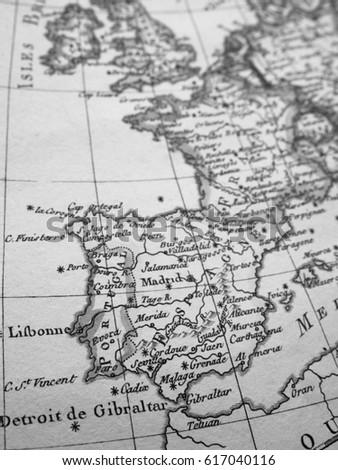 Iberia World Map.Antique World Map Iberia Peninsula Stock Photo Edit Now 617040116
