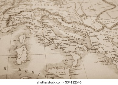 Antique world map, Italy