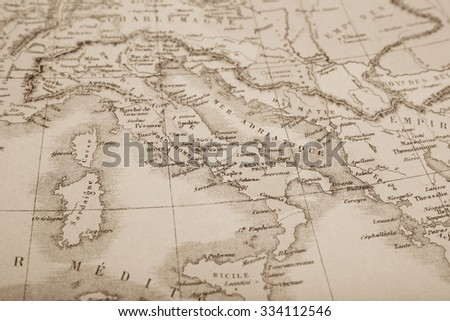 Antique World Map Italy Stockfoto (Jetzt bearbeiten) 334112546 ...
