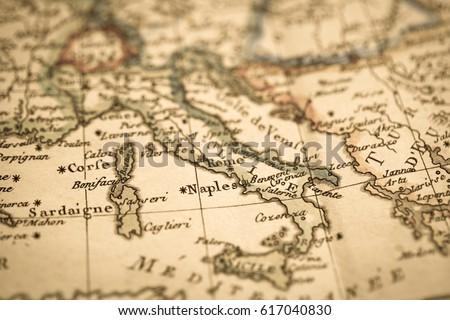 Antique World Map Italy Stockfoto (Jetzt bearbeiten) 617040830 ...