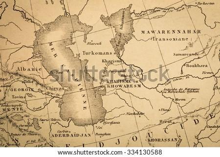 Antique World Map Near Caspian Sea Stock Photo (Edit Now) 334130588 ...