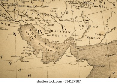 Antique world map, the Persian Gulf