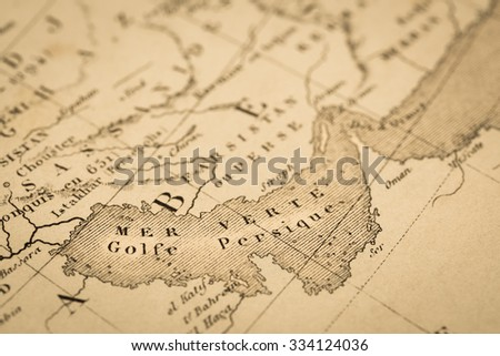 Antique World Map Persian Gulf Stock Photo (Edit Now) 334124036 ...
