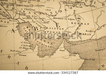 Antique World Map Persian Gulf Stock Photo (Edit Now) 334127387 ...