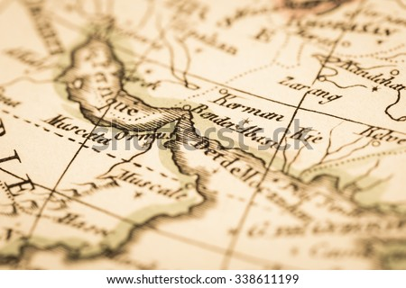 Antique World Map Persian Gulf Strait Stock Photo (Edit Now ...