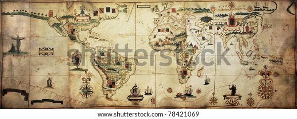 Античный мир planisphere portolan карта испанской и португальской морской и колониальной империи. Созданный Антонио Санчеш, опубликованный в Португалии, 1623