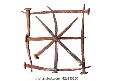 antique wrought iron nails, square and star, isolated background