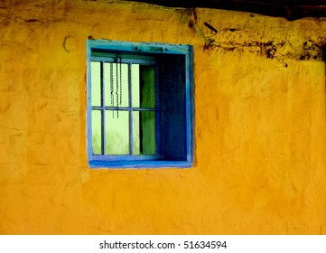 Antique yellow wall and blue window