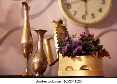 Antiques. Old iron, jug and vase. Old things. Retro.