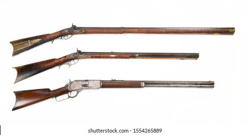 Antiques rifles,full stock,half stock and cowboy lever action rifle. Made from 1840 t0 1876.