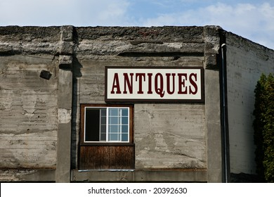 Antiques Sign on an old Building