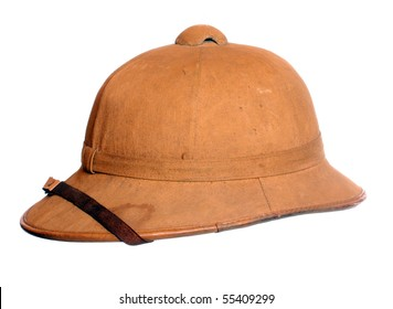 Antiquity cork helmet for tropical destination. Isolated on white background.